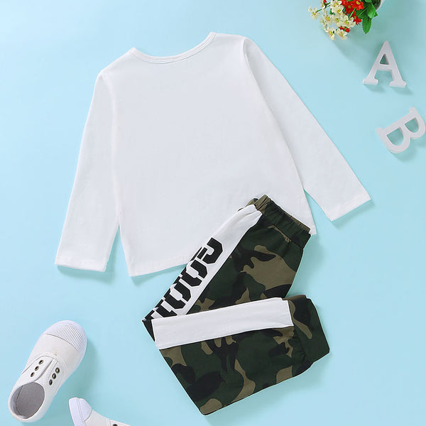 Boys Camo Dad Good Printed Long Sleeve Top & Pants Wholesale Toddler Boy Clothes