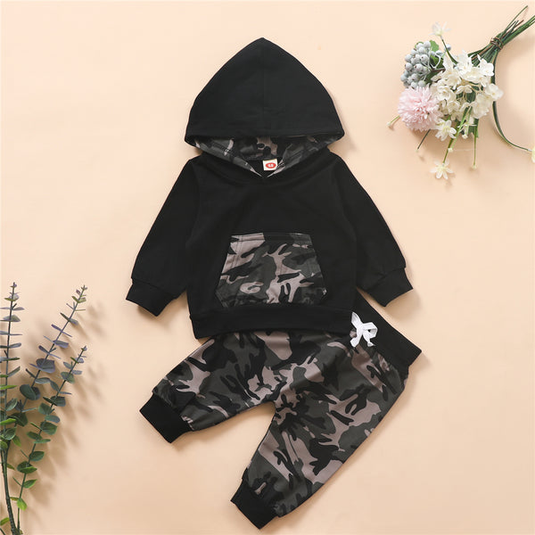 Baby Boys Camo Hooded Long Sleeve T-shirt & Pants Baby Boutique Wholesale