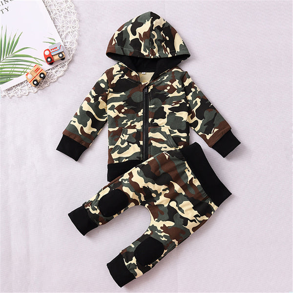 Baby Boys Camo Hooded Zipper Jacket & Pants Wholesale Baby Leggings