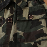 Girls Camo Lapel Button Long Sleeve Coats Wholesale