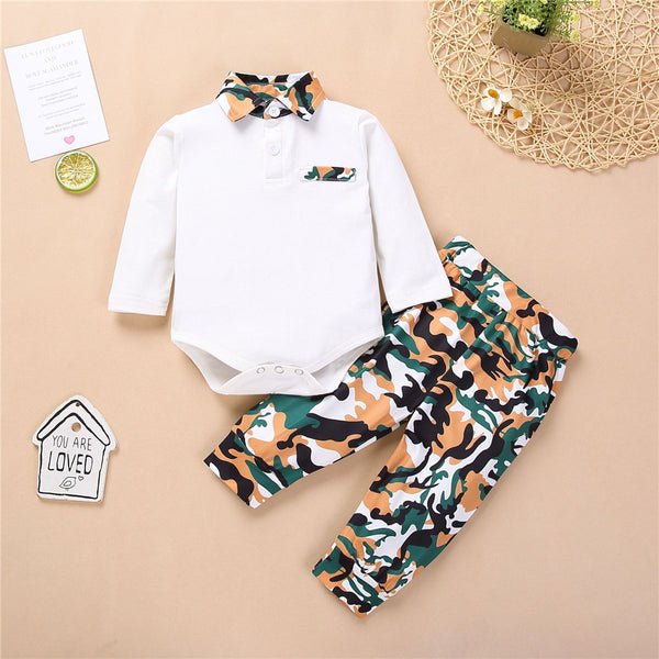 Baby Boys Camo Lapel Long Sleeve Romper & Trousers Baby Wholesale
