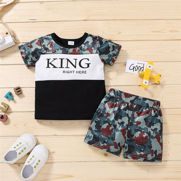 Boys Camo Letter King Right Here Printed Short Sleeve T-shirt & Shorts wholesale boy boutique clothes