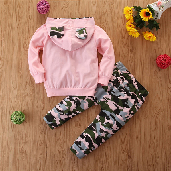 Baby Girls Camo Letter Print Hooded Long Sleeve Top & Pants Wholesale Baby