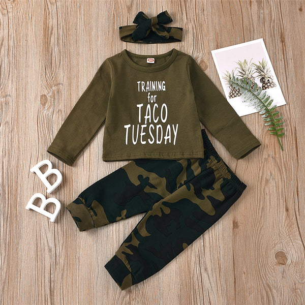 Girls Camo Letter Printed Long Sleeve Top & Pants Wholesale Girls