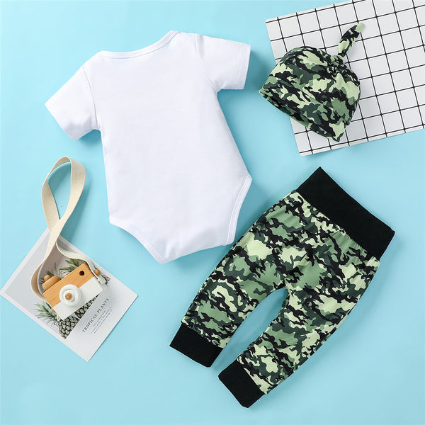 Baby Boys Camo Letter Printed Short Sleeve Romper & Pants & Hat baby clothes wholesale distributors