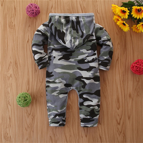 Baby Boys Camo Long Sleeve Hooded Zipper Romper Wholesale Baby Onesies