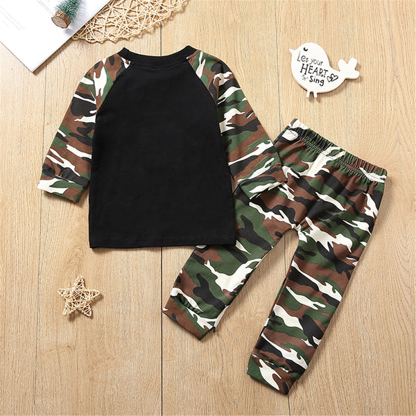 Baby Boys Camo Long Sleeve Splicing Top & Pants Baby Clothing Cheap Wholesale