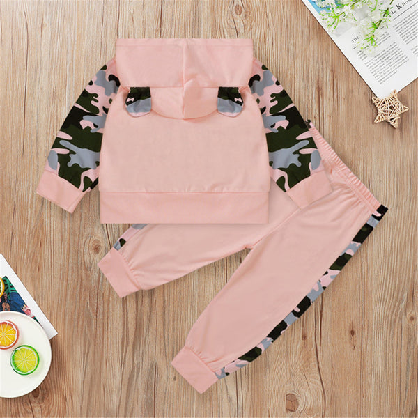 Baby Girls Camo Mama's Bestie Hooded Long Sleeve Sets Baby Wholesale Clothes