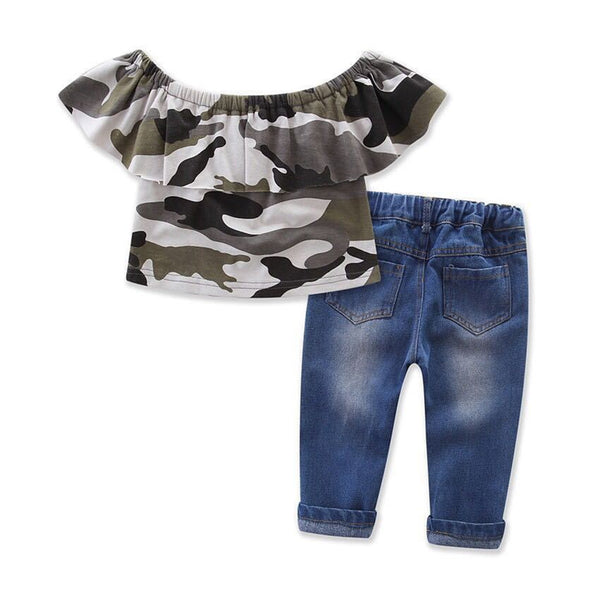 Girls Camo Off Shoulder Lotus Leaf Collar Top & Ripped Jeans kids wholesale clothing
