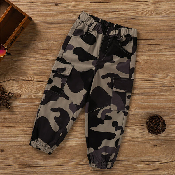 Toddler Boys Camo Pocket Elastic Waist Pants Wholesale Baby Boy Clothes