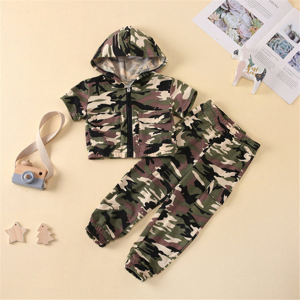 Unisex Camo Printed Hooded Short Sleeve Zipper Top & Pants Kids Wholesale Clothing