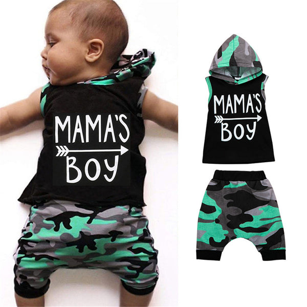 Baby Boys Camo Printed Mamas Boy Sleeveless Hooded Top & Pants Wholesale Baby Clothes In Bulk