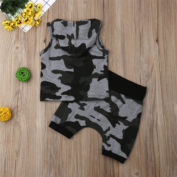 Boys Camo Printed Sleeveless Hooded Top & Shorts Boys Casual Suits