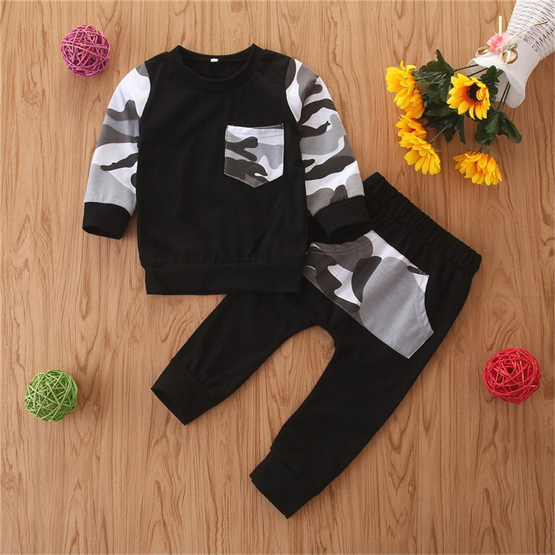 Boys Camo Printing Casual Long Sleeve Top & Pants Boy Clothes Wholesale