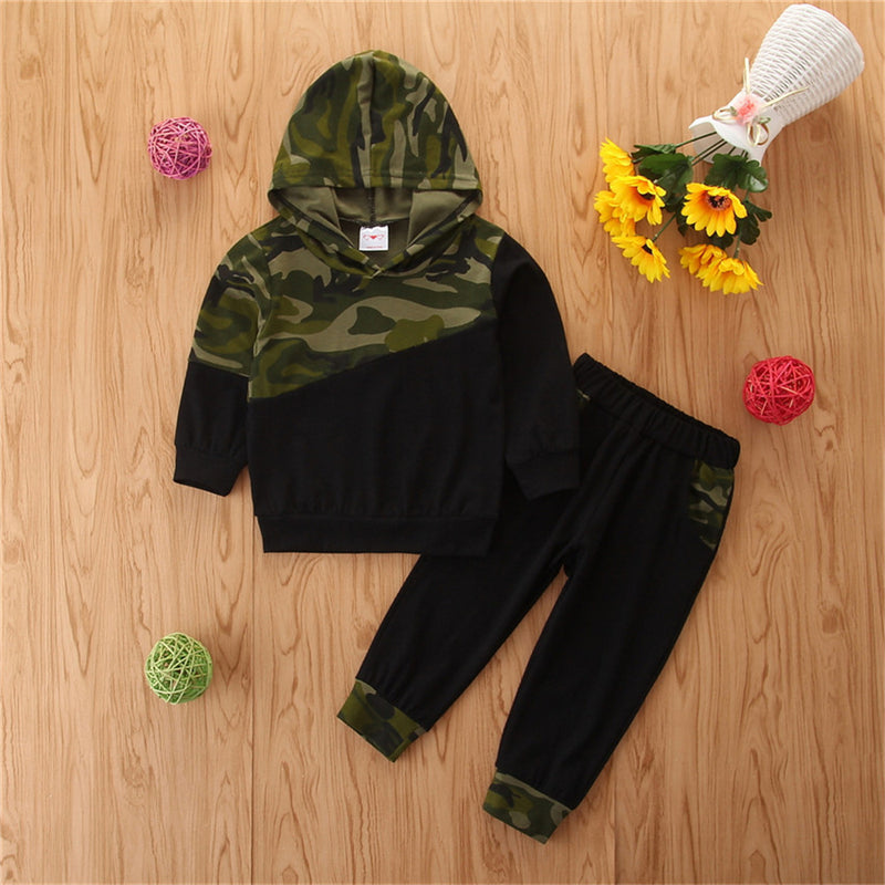 Boys Camo Splicing Hooded Long Sleeve Tracksuit Wholesale British School Boy