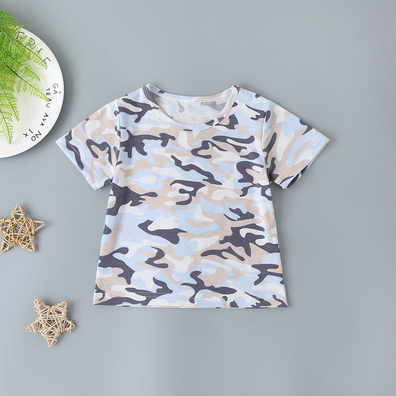 Baby Boys Camo Tee & Pockets Denim Overall