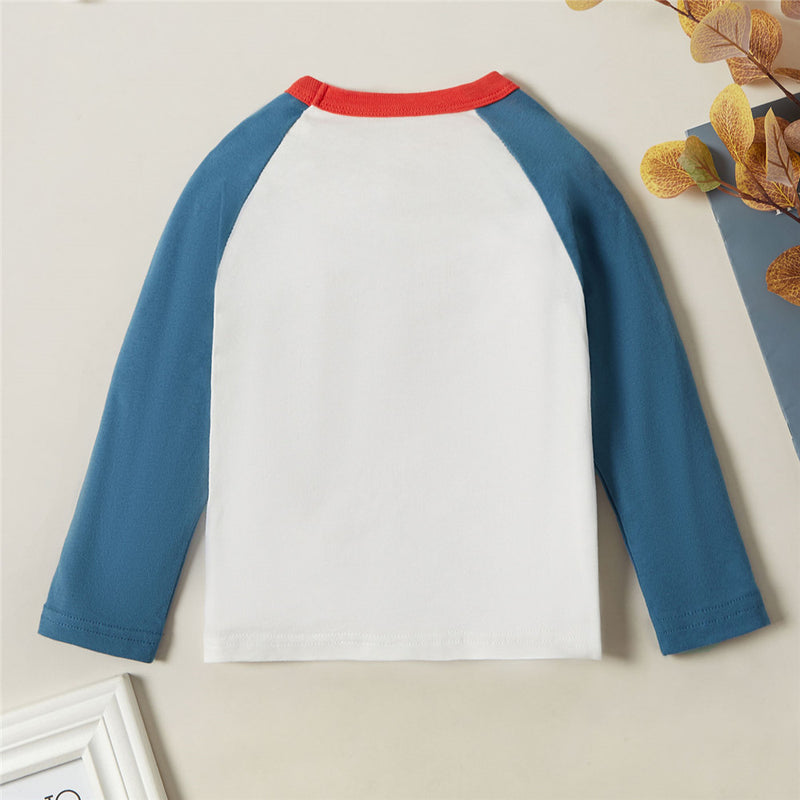 Boys Car Cartoon Letter Print Long Sleeve Tops