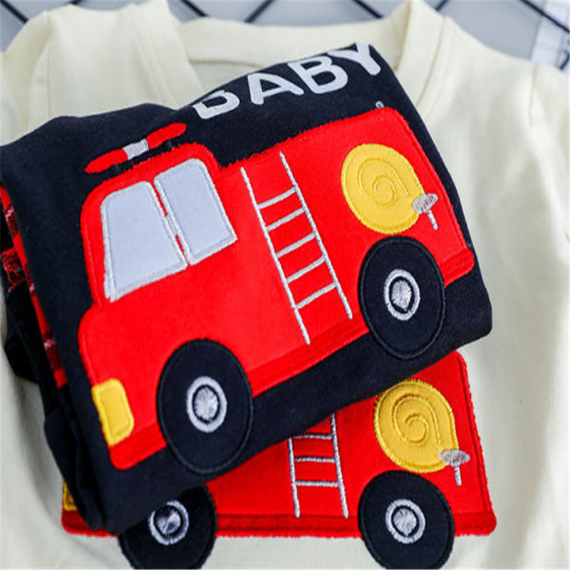 Boys Car Letter Cartoon Printed Tops & Jeans
