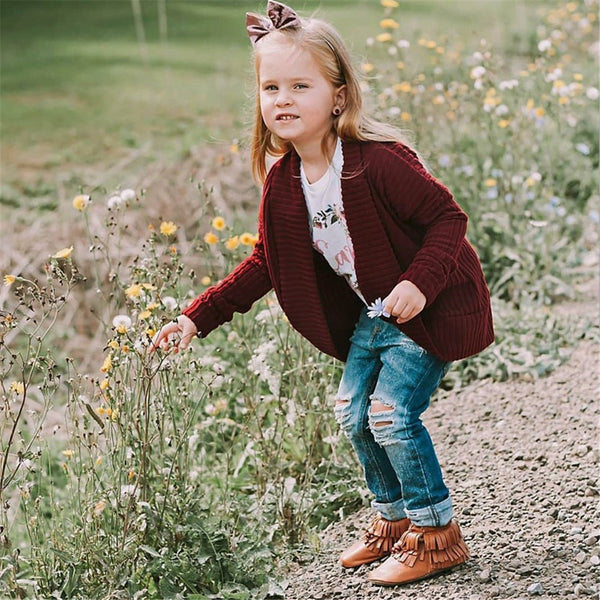 Toddler Girls Cardigan Solid Long Sleeve Sweaters Girls Clothes Wholesale