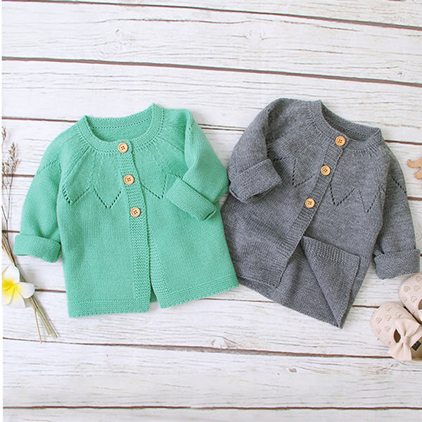 Baby Girls Cardigan Sweater Solid Jackets Babywear Wholesale