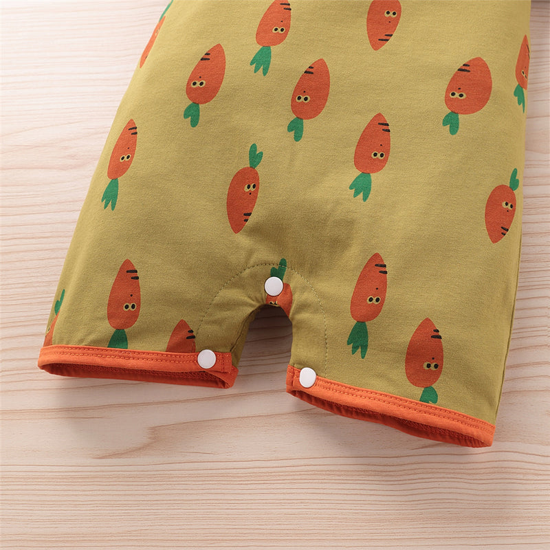 Baby Unisex Carrot Cartoon Printed Short Sleeve Romper Baby Romper Wholesale