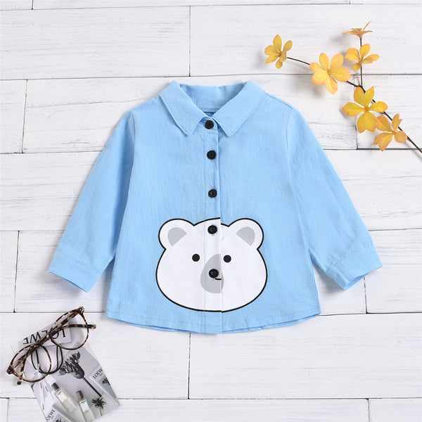 Unisex Cartoon Animal Printed Lapel Button Long Sleeve Shirt Bulk Childrens Clothes