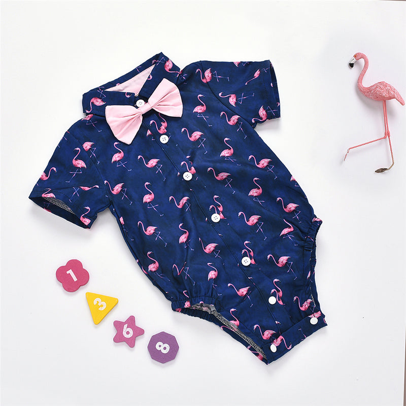 Baby Boys Cartoon Animal Printed Lapel Short Sleeve Romper Wholesale Clothing Baby