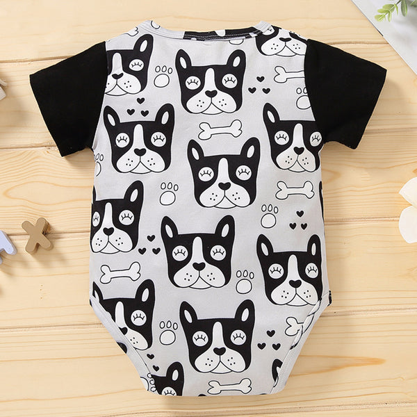 Baby Boys Cartoon Animal Printed Short Sleeve Buttton Romper wholesale baby boy clothes