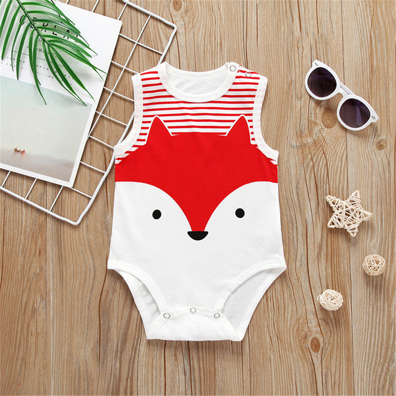 Baby Cartoon Animal Printed Sleeveless Romper Cheap Baby Clothes In Bulk