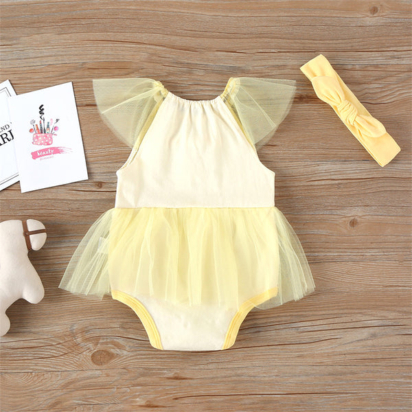 Baby Girls Cartoon Animal Short Sleeve Tulle Romper Baby Summer Clothes