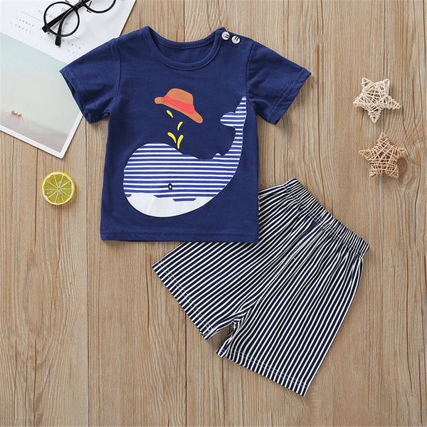 Baby Boys Cartoon Animal Top & Striped Shorts wholesale baby clothing