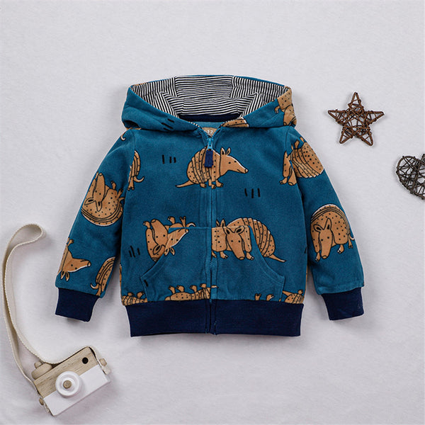 Toddler Boys Cartoon Animal Zipper Hooded Jacket Boys Clothing Wholesale