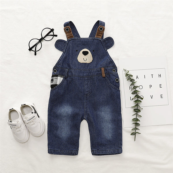 Boys Cartoon Bear Pocket Denim Jumpsuit Baby Boy Overalls Boutique Baby Clothes Wholesale