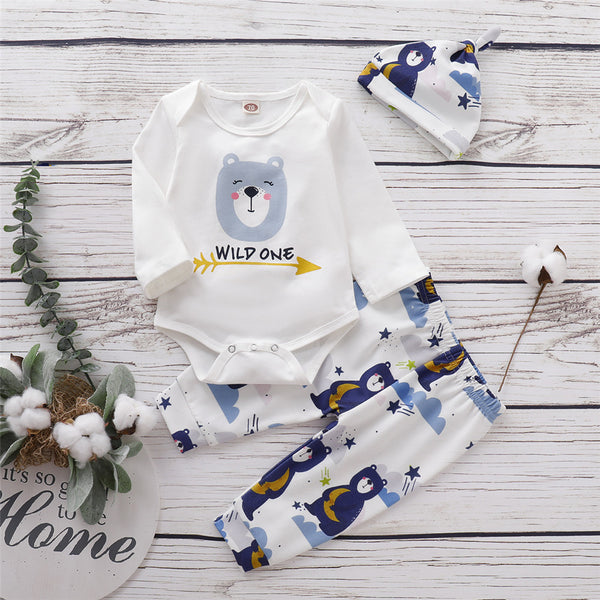 Baby Boys Cartoon Bear Printed Romper & Trousers & Hat