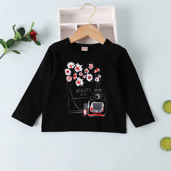 Girls Cartoon Beauty Club Floral Perfume Printed Long Sleeve Top Wholesale Girls