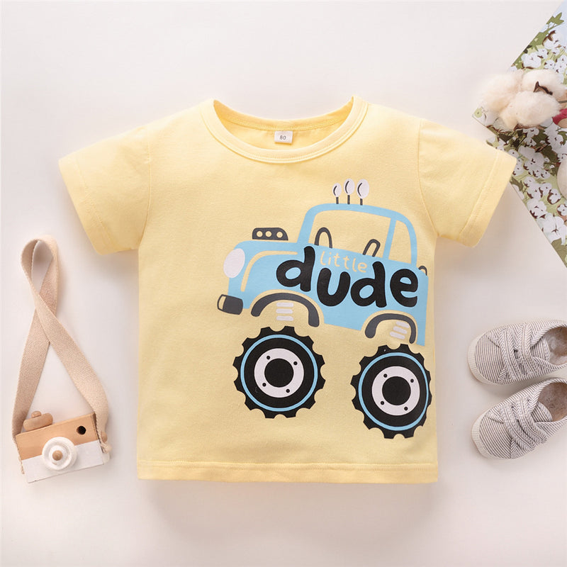 Boys Cartoon Car Dude Printed Short Sleeve Top Wholesale Boys Clothing Suppliers