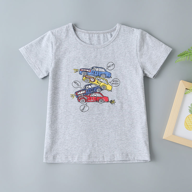 Boys Cartoon Car Print Tee & Shorts