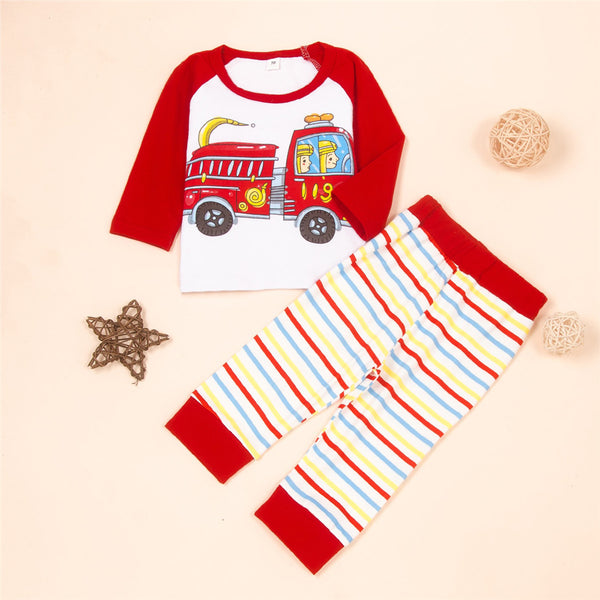 Baby Boys Cartoon Car Printed Long Sleeve Top & Striped Pants Cheap Boutique Baby Clothing