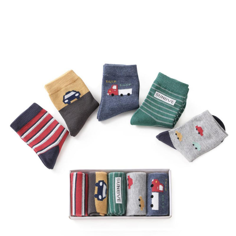 Cartoon Car Socks For Boys Gift Boxes With 5 Pairs Of Socks Wholesale Kids Accessories