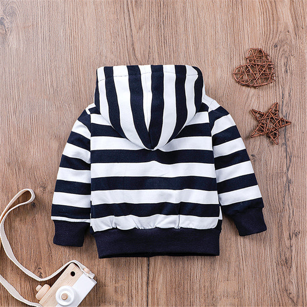 Baby Boy Cartoon Car Striped Zipper Jacket Wholesale Baby Cloths