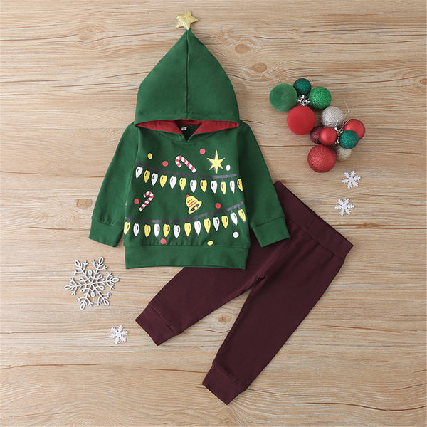 Boys Cartoon Christmas Hooded Tops & Pants Boutique Outfits Wholesale