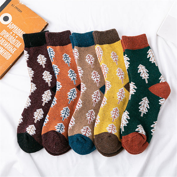 Women 5 -Pairs Cartoon Christmas Tree Socks Accessories Wholesale