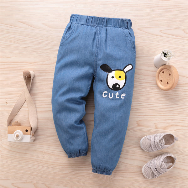 Unisex Cartoon Cute Elastic Waist Jeans Trendy Kids Clothes Wholesale