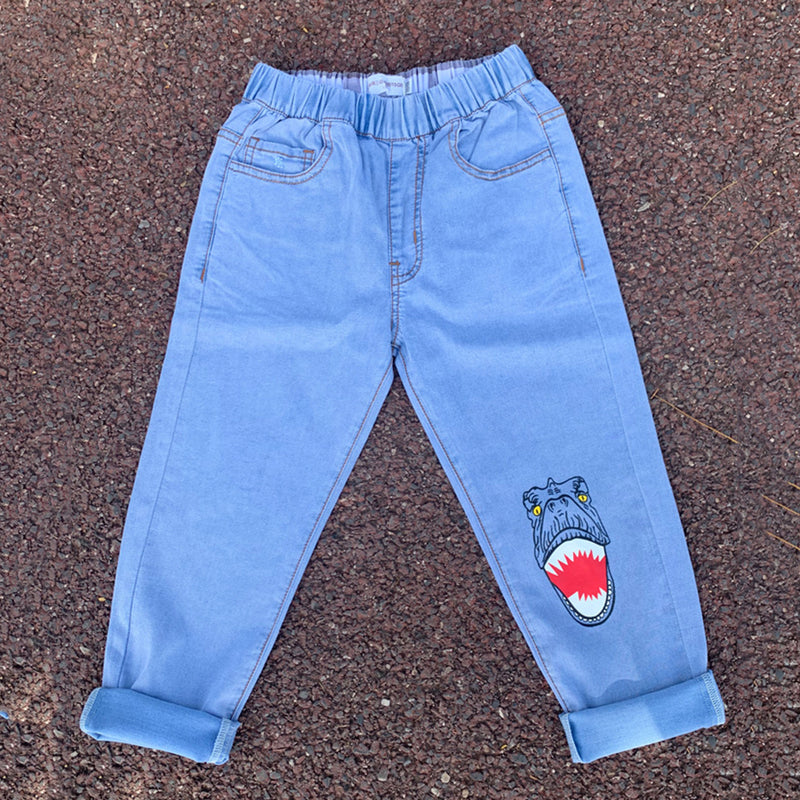 Boys Cartoon Dinosaur Printed Pocket Jeans wholesale childrens clothing distributors