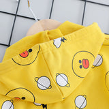 Girls Cartoon Duck Long Sleeve Top & Stripe Pants