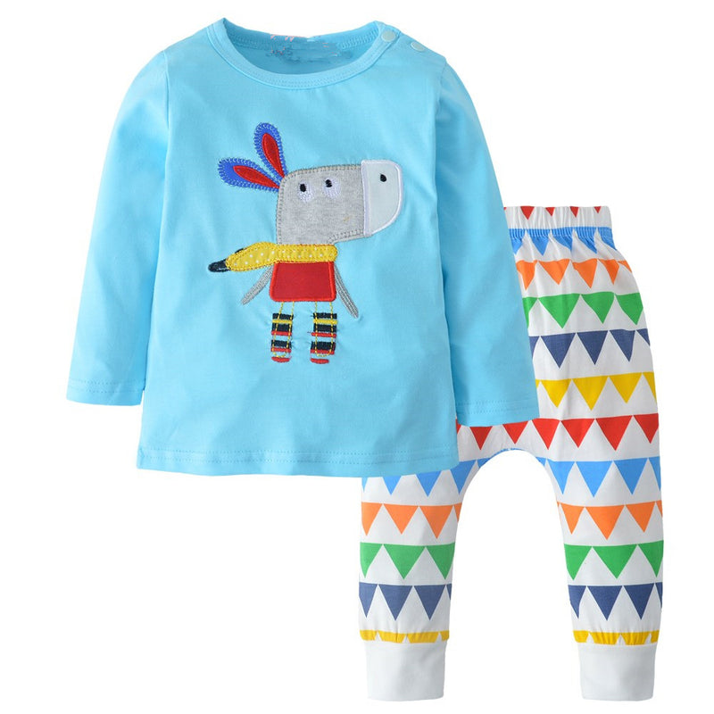 Baby Boys Cartoon Embroidered Long Sleeve Tops & Pants