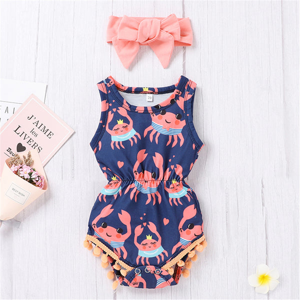 Baby Girls Cartoon Floral Printed Sleeveless Tassel Romper & Headband wholesale infant clothing