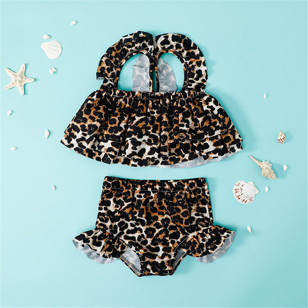 Girls Cartoon Floral Striped Leopard Printed Top & Shorts 2 Piece Swimsuit With Shorts