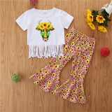Girls Cartoon Flower Printed Tassel Short Sleeve Top & Bell Trousers Girls Clothes Wholesale