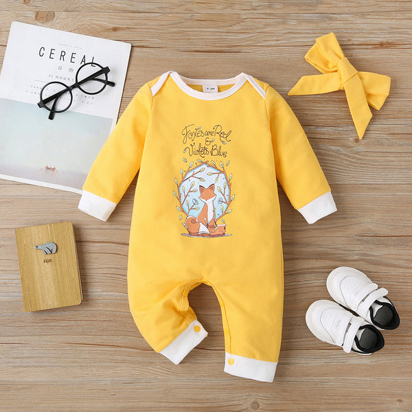 Baby Girls Cartoon Fox Letter Printed Long Sleeve Romper & Headband baby clothes vendors